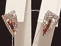 Серебряные серьги с фианитами и позолотой. Артикул 22024р, фото 1