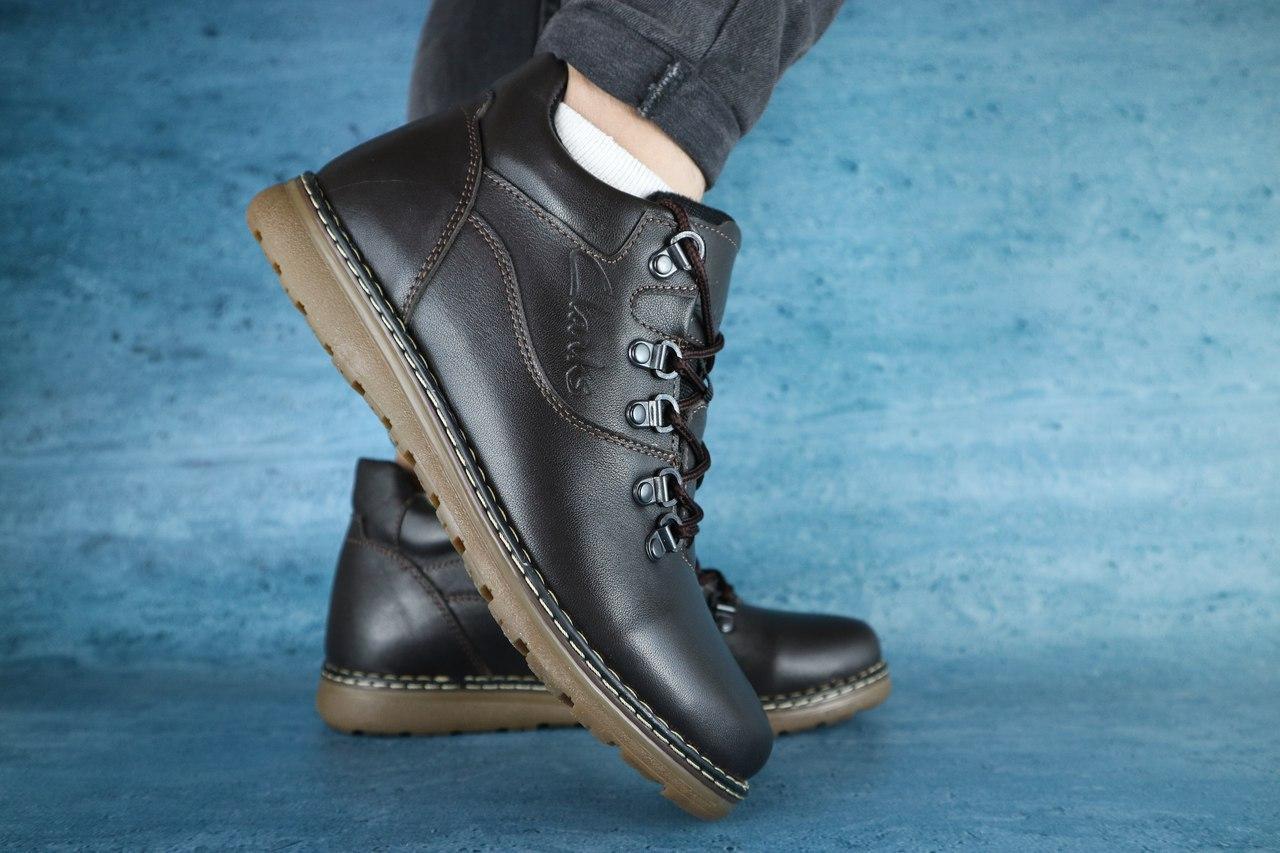 Мужские зимние ботинки Yuves (темно-коричневые), ТОП-реплика