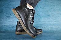 Мужские зимние ботинки Yuves (темно-коричневые), ТОП-реплика, фото 1