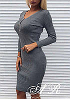Женское приталенное платье с декольте (расцветки), фото 1