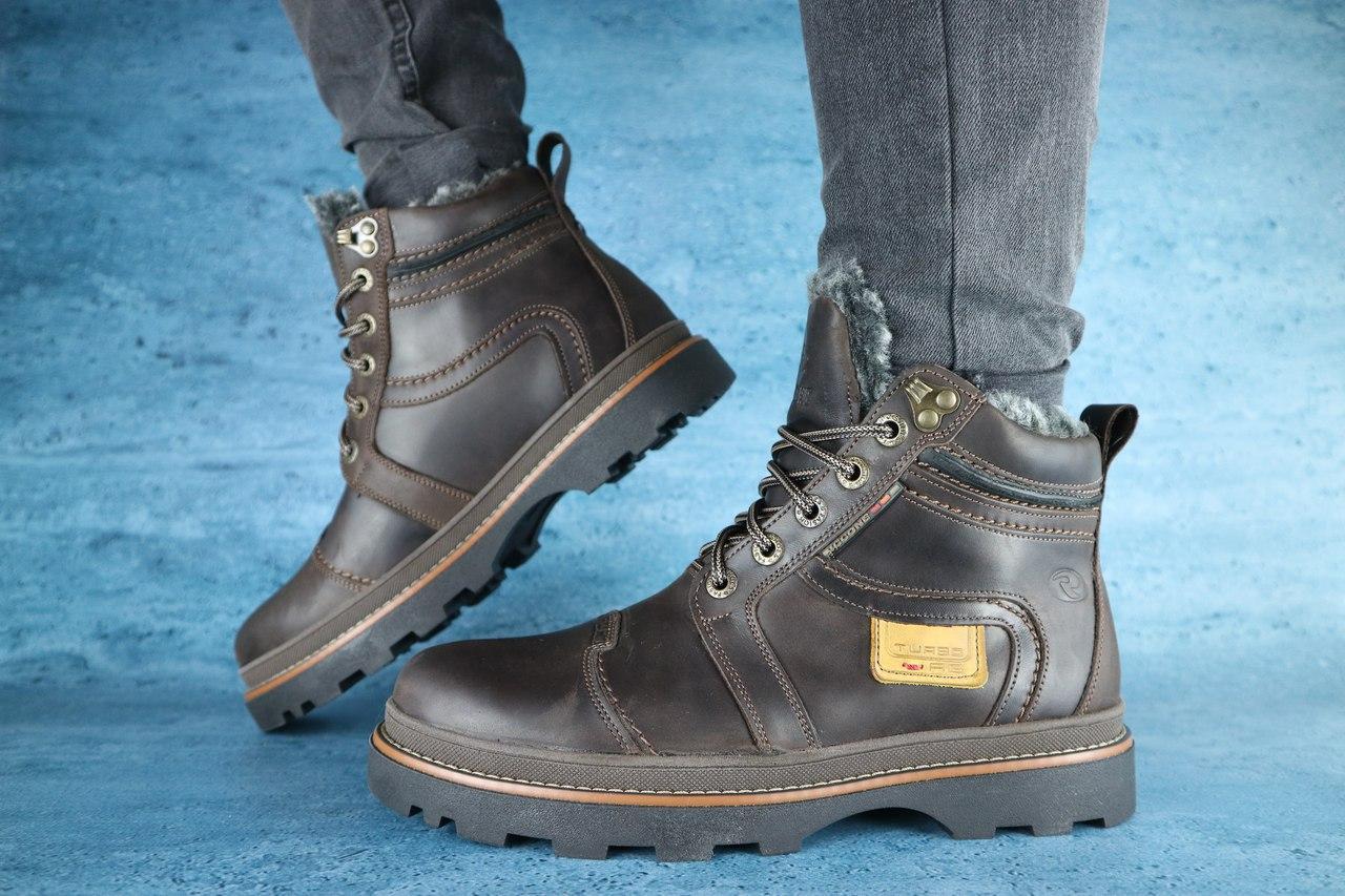 Мужские зимние ботинки Riccone (коричневые), ТОП-реплика
