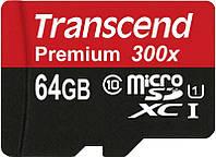 Карта памяти Transcend microSDXC 64GB Class 10 300x UHS-I Premium б/у