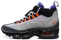 Мужские высокие кроссовки Nike Air Max 95 Sneakerboot (Найк Аир Макс 95 Сникербут) серые