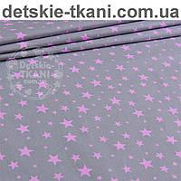 """Ткань бязь """"Звёздная россыпь"""" с розовыми звёздочками на сером фоне № 988"""