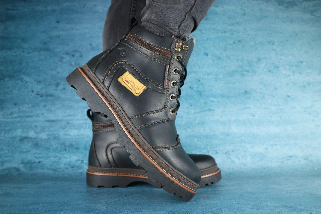 Мужские зимние ботинки Riccone (черные), ТОП-реплика