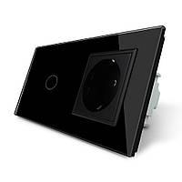 Сенсорный выключатель с розеткой Livolo, цвет черный, стекло (VL-C701/C7C1EU-12), фото 1