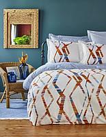 Постельное белье Karaca Home ранфорс Shaggy голубое евро размер