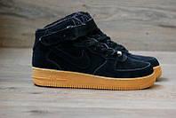 Зимние черно-коричневые меховые кроссовки Nike Air Force High (black/brown) NAF 43