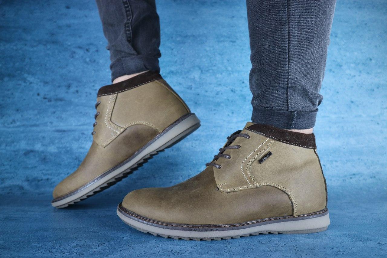 Мужские зимние ботинки Yuves 333 (Оливка), ТОП-реплика