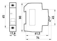 Автоматичний вимикач e.mcb.stand.45.1.C50 1р 50А C 30 кА, фото 1