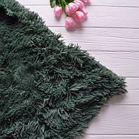 Меховый плед, материал - бамбук, цвет - темно-зеленый