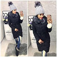 Женское зимнее пальто,с капюшоном на холлофайбере ,Китай,новинка 2017 чёрный и синий