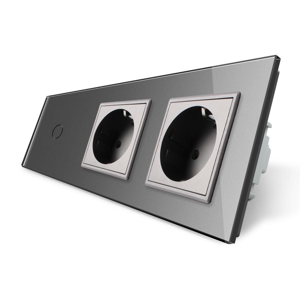 Сенсорный выключатель с двумя розетками Livolo, цвет серый, стекло (VL-C701/C7C2EU-15)