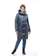 Зимнее модное пальто Карина О-образный силуэт изумруд