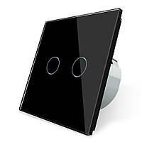 Сенсорный выключатель Livolo на 2 канала, цвет черный, стекло (VL-C702-12), фото 1