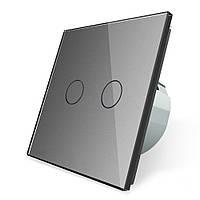 Сенсорный выключатель Livolo на 2 канала, цвет серый, стекло (VL-C702-15)