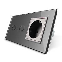 Сенсорный выключатель Livolo 2 канала с розеткой серый стекло (VL-C702/C7C1EU-15), фото 1