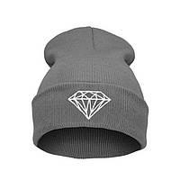Модная женская трикотажная шапка с бриллиантом серого цвета