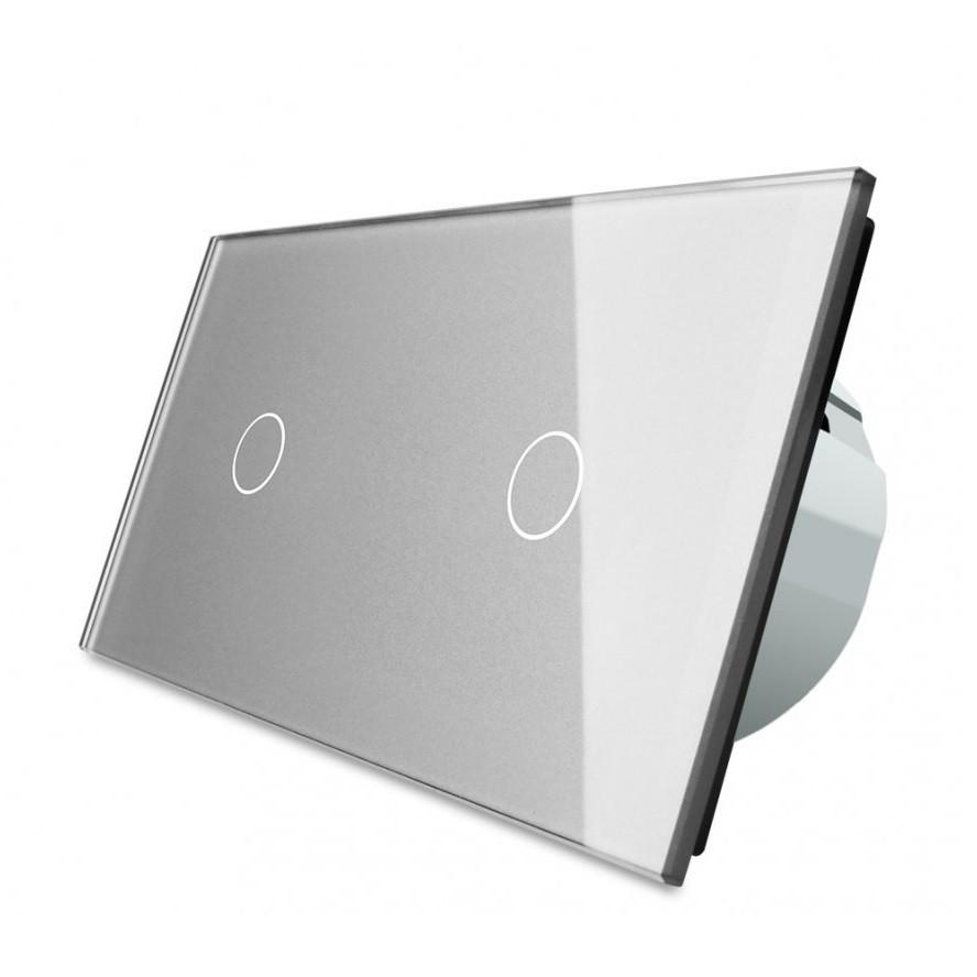 Сенсорный выключатель Livolo 1+1, цвет серый, стекло (VL-C701/C701-15), фото 1