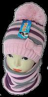 Шапка и шарф вязаный м 7090 разные цвета