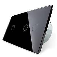 Сенсорный выключатель Livolo 1+2, цвет черный, стекло (VL-C701/C702-12)