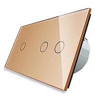 Сенсорный выключатель Livolo 1+2, цвет золото, стекло (VL-C701/C702-13), фото 1