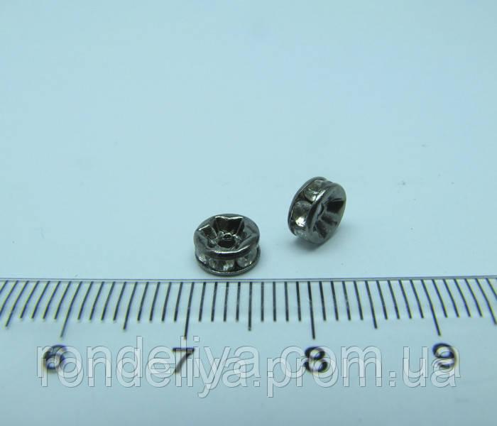 Рондель с белыми стразами диаметр 6 мм