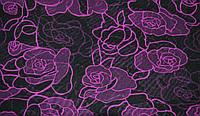 Сетка-стрейч маджента с чёрными цветами Chrisanne Clover