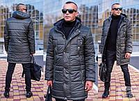 Мужская длинная зимняя куртка с капюшоном