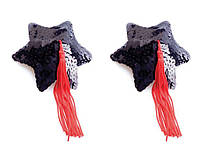 Black Star Shape Sequin Pasties 8cm