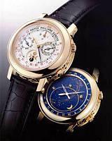 Часы мужские Patek Philippe Sky Moon Tourbillon механические золото-белые с коричневым ремешком