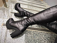 Зимние сапоги на толстом каблуке.Натур.кожа/замш, внутри мех (еврозима). Высота 35см, каблук 13см, спереди 3см