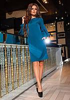 Нарядное приталенное женское платье рукав с рюшами