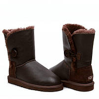 Угги женские UGG Bailey Button Leather Metalic Chocolate