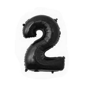 """Фольгированные воздушные шары, цифра """"2"""", размер 32 дюймов/74 см, цвет: черный, 1 штука"""