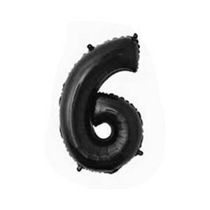 """Фольгированные воздушные шары, цифра """"6"""", размер 32 дюймов/74 см, цвет: черный, 1 штука"""