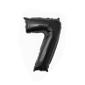 """Фольгированные воздушные шары, цифра """"7"""", размер 32 дюймов/74 см, цвет: черный, 1 штука"""