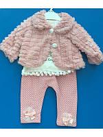 Красивый костюм 3ка с меховой шубкой для девочки 62-74