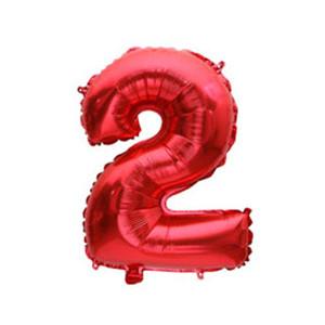 """Фольгированные воздушные шары, цифра """"2"""", размер 32 дюймов/74 см, цвет: красный, 1 штука"""