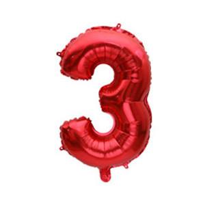 """Фольговані повітряні кулі, цифра """"3"""", розмір 32 дюймів/74 см, колір: червоний, 1 штука"""