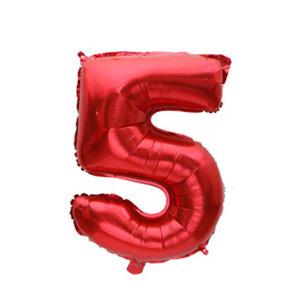 """Фольговані повітряні кулі, цифра """"5"""", розмір 32 дюймів/74 см, колір: червоний, 1 штука"""