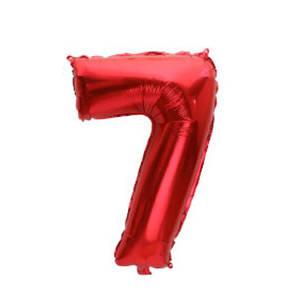 """Фольговані повітряні кулі, цифра """"7"""", розмір 32 дюймів/74 см, колір: червоний, 1 штука"""