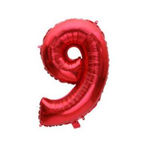 """Фольгированные воздушные шары, цифра """"9"""", размер 32 дюймов/74 см, цвет: красный, 1 штука"""