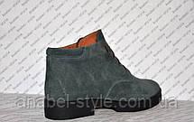 Полуботинки женские стильные натуральная замша шнуровка оливковый Код 1042, фото 2
