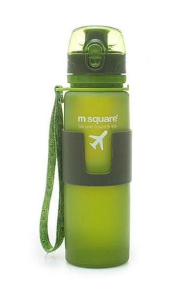 Силиконовая бутылка для воды 500 мл (зеленая)
