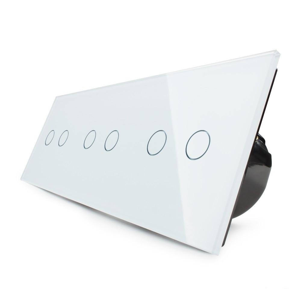Сенсорный выключатель Livolo на 2+2+2, цвет белый, стекло (VL-C706-11), фото 1