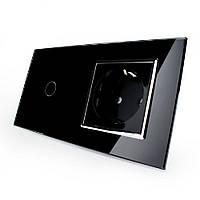 Сенсорный выключатель с розеткой Livolo, цвет черный, хром, стекло (VL-C701/C7C1EU-12C), фото 1