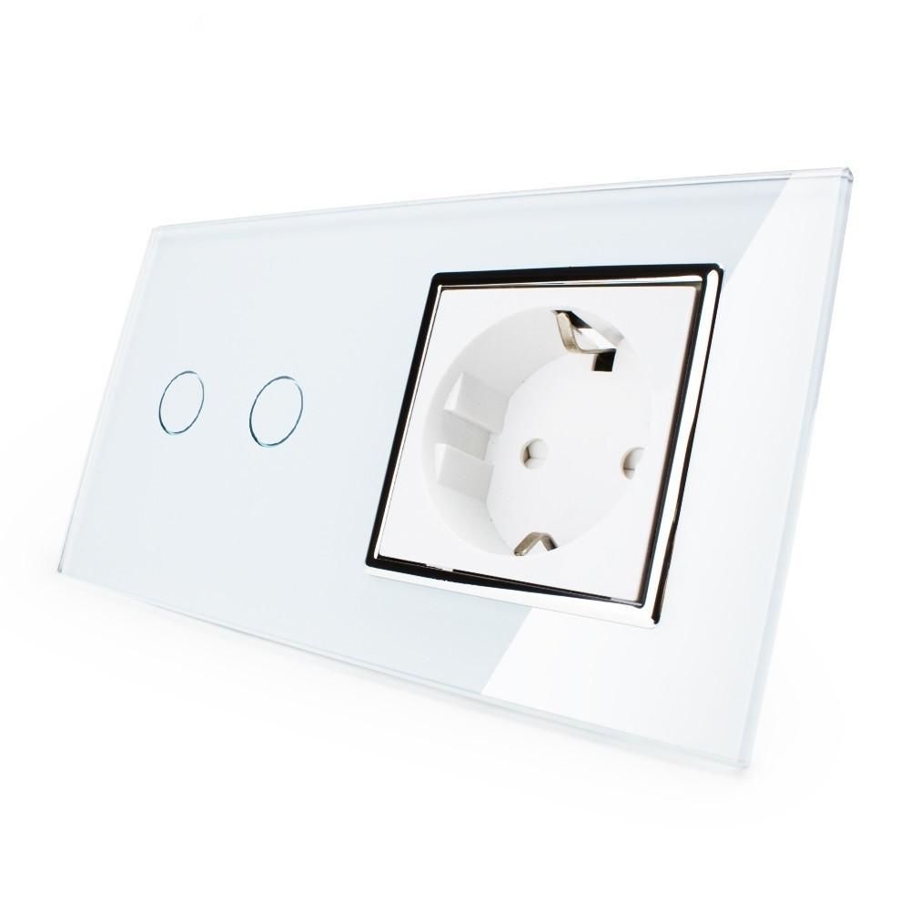 Сенсорный выключатель на 2 канала с розеткой Livolo, цвет белый, хром, стекло (VL-C702/C7C1EU-12C), фото 1