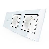 Сенсорный выключатель с двумя розетками Livolo белый хром стекло (VL-C701/C7C2EU-11C), фото 1