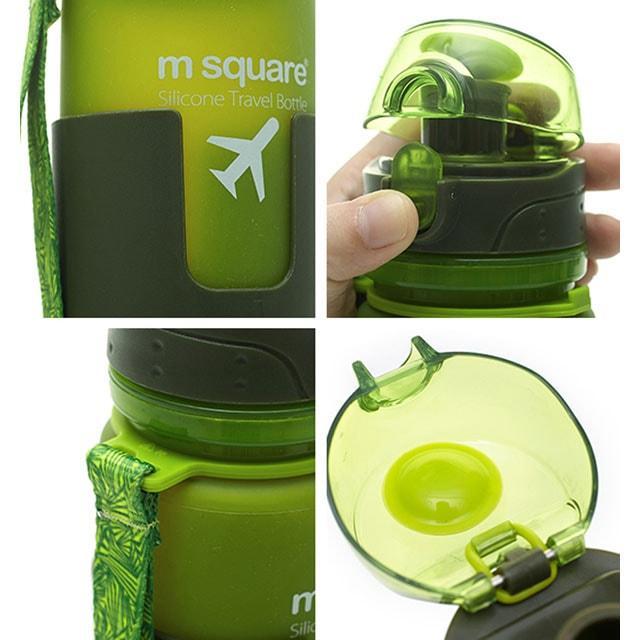 Силіконова пляшка для води зелена